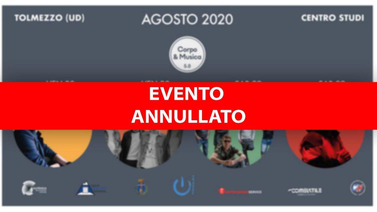 L'organizzazione dopo le nuove norme Covid ha deciso di annullare l'edizione 2020 di Corpo e Musica